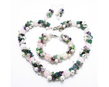 Набор из  розового кварца (ожерелье, браслет, сережки)