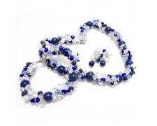 Комплект украшений из лазурита (ожерелье, сережки и браслет)