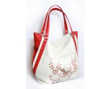 """Женская сумка """"Anabelle"""" №13 (белая с красными вставками)"""