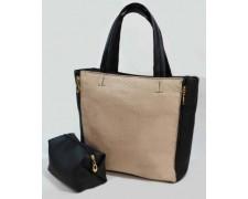 """Женская сумка+косметичка """"Britney"""" №32 (черная с бежевым)"""