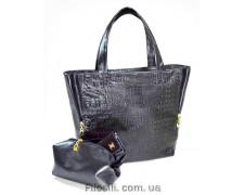 """Женская сумка+косметичка """"Britney"""" 15 (черная, коричневая)"""