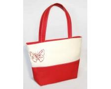 Женская сумка Madonna №9 (белая с красными вставками)
