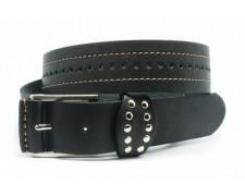 Стильный черный кожаный ремень классический (ВТ-25)