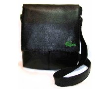 """Мужская сумка """"Alex""""  черная глянцевая с вышивкой крокодил (арт. а06)"""