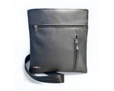 Мужская сумка – планшет «Leon» №9 черная глянцевая с логотипом