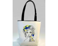 """Женская сумка """"Украинка"""" Б337 (белая с черными ручками)"""