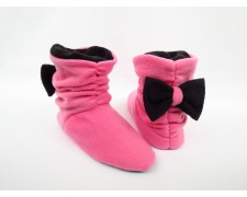 "Домашние тапочки-сапожки   ""Бантики""  Tb_pink-black"