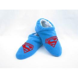 Домашние флисовые тапочки синие Супер Папа