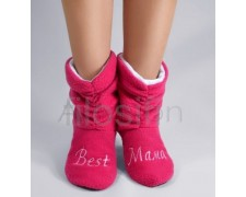 "Домашние ярко-розовые тапочки сапожки ""Best мама"""