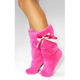 Махровые тапочки-cапожки розовые tm06Pink