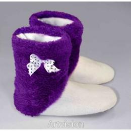 Махровые тапочки-cапожки  tm12HoneyPurple фиолетово-белые