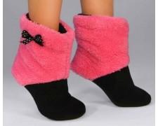 Махровые тапочки-cапожки розовые с черным (tm15)