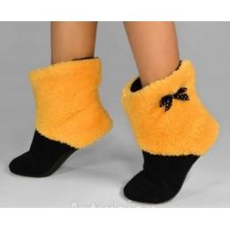Махровые тапочки-cапожки желтые с черным (tm16)