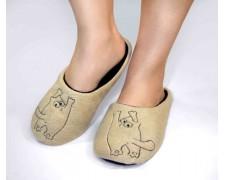 Тапочки-шлепки для дома Simon's Cat бежевые