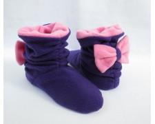 Домашние тапочки-сапожки с бантиком (фиолетовые)