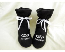 Домашние тапочки-сапожки черные с логотипом Chery