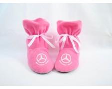 Домашние тапочки-сапожки с бантиком для автоледи с логотипом Mercedes (черные или розовые)
