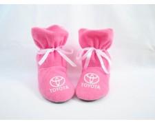 Домашние тапочки-сапожки с бантиком с логотипом Toyota (черные или розовые)