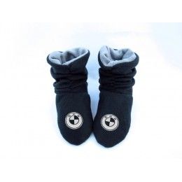 Домашние тапочки-сапожки черные с логотипом BMW