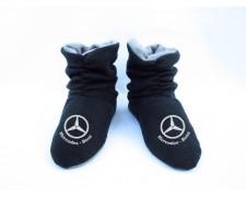 Домашние тапочки-сапожки черные с логотипом Mercedes