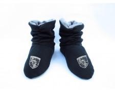 Домашние тапочки-сапожки черные с логотипом Porshe