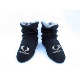 Домашние тапочки-сапожки черные с логотипом SsangYong
