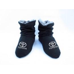 Домашние мужские тапочки-сапожки черные с логотипом Toyota
