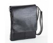 Мужская сумка - планшет под рептилию черная
