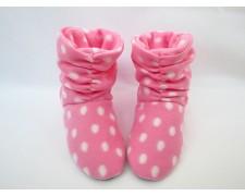 """Флисовые домашние сапожки """"Горошек"""" T_peas_pink.white"""