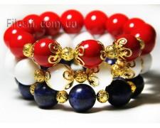 "Набор браслетов из коралла, лазурита и агата ""Вечная любовь"" (наб39)"