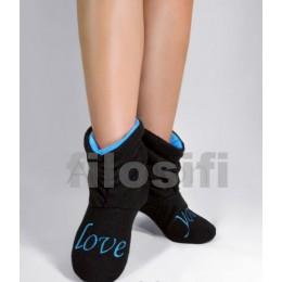 Домашние тапочки-сапожки чорно-голубые с надписью love you