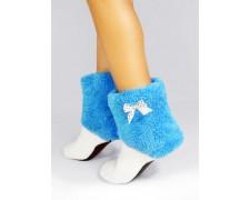 Махровые тапочки-cапожки голубые с белым tm11HoneyBlue